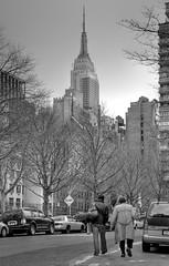 West 28th Street (andy in nyc) Tags: street nyc newyorkcity blackandwhite bw newyork geotagged topv333 chelsea manhattan esb empirestatebuilding topvaa tamron1750