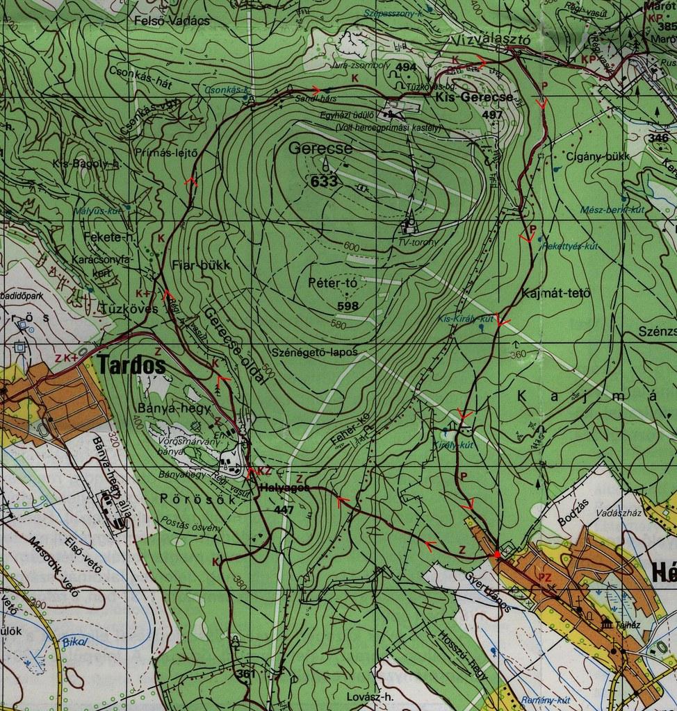 Gerecse hegy megkerülése Héregről - térkép
