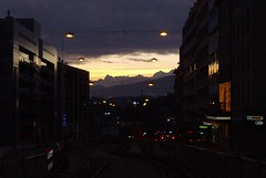 and the city keeps sleepin' (pixelding) Tags: morning sunrise geneva today genve morgen montblanc matin