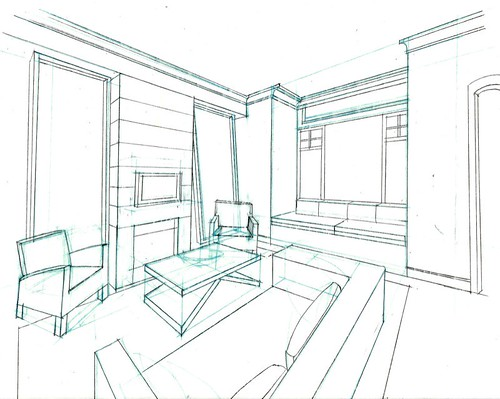 Beautiful One Point Perspective Sketches of a Living Room 500 x 399 · 89 kB · jpeg