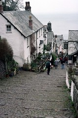 199603 181 Devon (williewonker) Tags: ocean road sea chimney england village step devon slate clovelly cy steep kodachromeslide challengeyouwinner