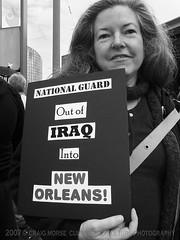 """National Guard...  Out of Iraq...  Into New Orleans"" (Culture:Subculture) Tags: camera forsaken blackandwhite craigmorse culturesubculture culturesubcultureyahoocom documentary education fineart hurricanekatrina neworleans photography wwwculturesubculturecom affectedcommunities hopeandhealing messageswarningspleas rallyingandresistance silenceisviolence theindeliblespirit 2007craigmorse activismactivistprotest anthropology sociology wwwflickrcomphotosculturesubculturesets community contemplation democracy diversity grassroots healingheal hope intentionalintentionintent introspection love participation peace sincere solidarity protest africanamerican lowincome peacemarch cbd dinerralshavers helenhill iraqwar la usa"