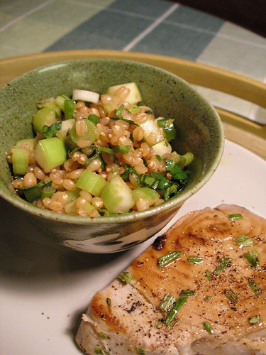Wheat Berry Salad and Citrus-Rosemary Tuna Steaks