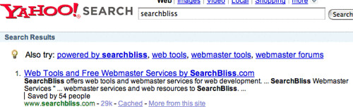 Yahoo Search Results for SearchBliss After Fix