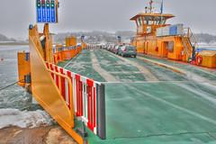 Ferry at Kornhall (hkkbs) Tags: yellow ferry catchycolors nikond70 sweden 100views 200views sverige nikkor westcoast gul frja vstkusten photomatix kornhall cableferry singleexposure tonemapped 20mmf28d kornhallsfrja linfrja