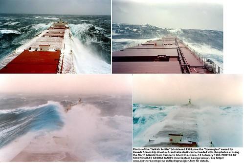 Bulk Carrier Selkirk Settler (now Spruceglen) in a North Atlantic Storm, February 1987