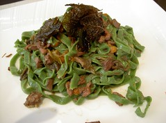Spinach Tagliatelle with Pigeon meat