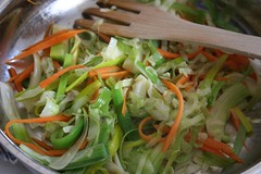 Egg Roll Filling: Cabage, Carrot And Leek Cooked