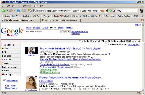 Google News screen capture, 2/15/07