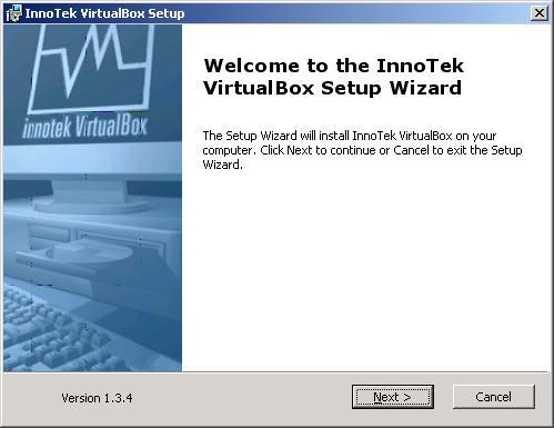 VirtualBox - installazione - finestra benvenuto setup