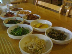 Fear Factor Foods. :P j/k... those are side dishes... kimchi, spicy dilis, eggs, mongo sprouts, kangkong (i think), and i forgot the others