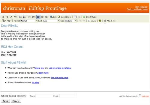 pbwiki edit page