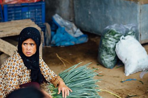 Muslim Woman Selling Vegetables, Mt. Lawu Indonesia
