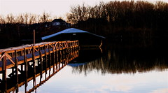 Early Evening At A Covered Boat Slip Ⅰ (mightyquinninwky) Tags: trees sky water clouds reflections evening december kentucky lexingtonky richmondroad fayettecounty centralkentucky ellserlielake