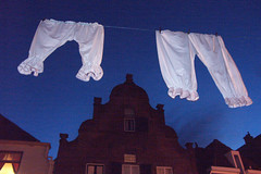 Is your underwear missing? (rogiro) Tags: old blue white freeassociation fashion festival night underwear line wash laundry ck dickens underpants deventer drying calvinklein fashioned walstraat