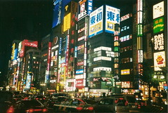 Shinjuku - Tokyo Japan (~Xtinalicious) Tags: life street city film japan lights shinjuku neon favorites busy citylights