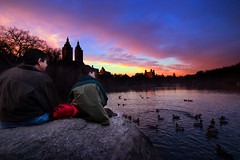Feeding the Ducks (Luis Montemayor) Tags: nyc trees sunset sky people usa lake newyork clouds lago atardecer arboles centralpark ducks explore cielo nubes gent myfavs patos