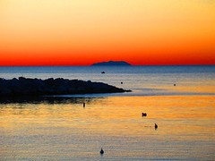 gorgona island on the horizon line (LivornoQueen) Tags: pink sunset red beach nature beautiful ferry finland tramonto ship sundown horizon foliage romantic reflexion livorno spiaggia romantico impressive italians capraia gorgona suggestivo lillatro bagnifiume aplusphoto diamondclassphotographer fdream absolutelystunningscapes
