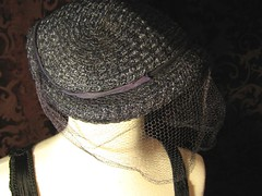 Vintage Ladies Navy Blue Veiled Hat side
