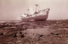 1990 - Morocco - Tarfaya - shipwrecks (camera_obscura [busy]) Tags: ocean africa travel sea abandoned beach ship morocco shipwreck maroc marruecos derelict stranded shipwrecks tarfaya cabojuby shipsrunaground minox35mb