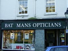 Bat[e]man's Opticians, Tavistock (Richard and Gill) Tags: sign devon batman tavistock shopfront darkknight optician bateman opthalmic