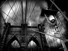 Brooding Brooklyn (AdreWine) Tags: bridge bw usa newyork brooklyn jfk