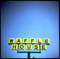 waffle house. orlando, fl. 2006. (eyetwist) Tags: sign yellow analog square typography words orlando graphic florida kodak character text letters toycamera halo bluesky 2006 photographic ishootfilm wafflehouse diana signage font type letter americana 400uc analogue digits dianaf fonts vignette yellowblue plasticcamera typology typographic letterforms eyetwist typographyandlettering ishootkodak contactforstockusage thisimagemaybeavailableforlicensecontactformoreinfo og1960sdianaf