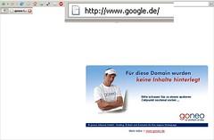 Geparkte Google.de-Seite