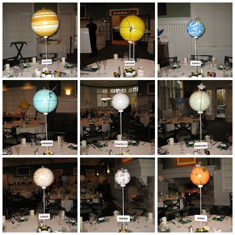 Here are some of our centerpieces we had a moon and stars themed wedding
