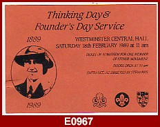 Guide memorabilia e0967 admission card 1989 thinking day founders day service westminster central hall1989 104x146mm very good gbp 025 m4hsunfo