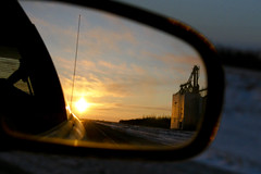 Lookin' Back (Mr. Gee) Tags: winter reflection 20d car tag3 taggedout sunrise canon mirror highway tag2 tag1 elevator roadtrip manitoba challengeyouwinner sideveiwmirror