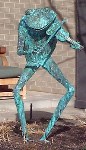 Statue -- Frog Playing Violin