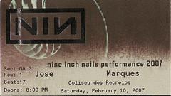 NIN ticket 2007-02-10 Lisbon Coliseum