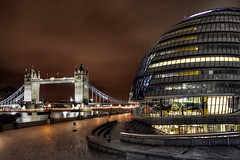 City Hall & Tower Bridge (Simon Crubellier) Tags: uk bridge england london thames towerbridge canon river eos europe nightshot cityhall southbank hdr southwark eos20d simoncrubellier
