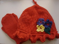 Flower Basket Hat and Mittens