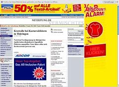 Netzeitung mit Werbung und Navigation
