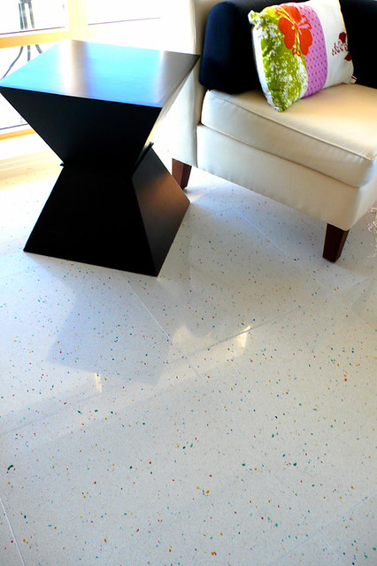 white colour glass stone composite tile colorful floor flat livingroom condo colourful coloured speckled terrazzo