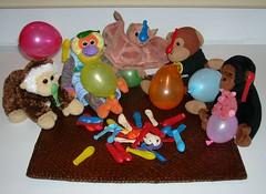 Balloon Fun (Monkey & Timmy) Tags: balloons toy monkey pig mail arnold humor houston bananas softie congo timmy beanie thinkgeek batty