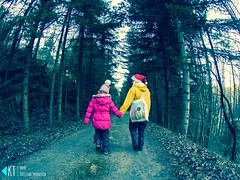 Out walking (KrishTh) Tags: ifttt 500px walking walk girl trees winter tree autumn forest trail yellow pink red christmas xmas holding hands fisheye norway norwegian aunt niese family