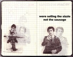 ...sizzle (the3robbers) Tags: woman man moleskine collage paper paint sausage graph sketchbook spray spraypaint transfer sizzle solvent graphpaper fairburn the3robbers