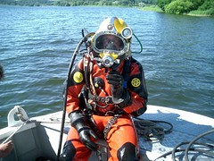 Com Diver 21 (frglee2) Tags: kirby helmet dry scuba diving rubber suit diver morgan viking drysuit