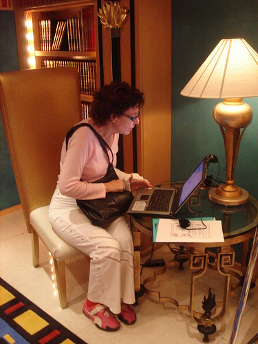 Irit at computer in Burj Al-Arab library