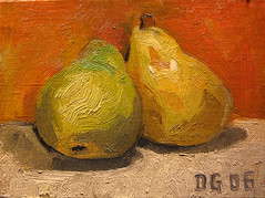 Still life: Pears (dgray_xplane) Tags: en stilllife art schilder artwork artist gallery artgallery kunst stlouis stilleben mo artists painter saintlouis oilpaintings painters oilpainting kunstenaar naturemorte oiloncanvas naturamorta bellen toeters toetersenbellen hetschilderen oliehetschilderen