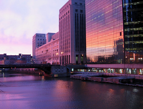 The Old Post Office Bathed in Violet Light