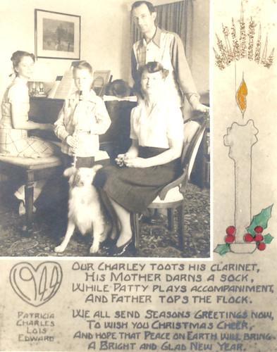 Vintage Christmas Card, 1944