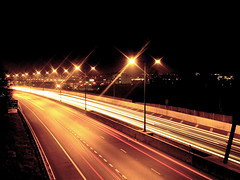 M1 (edwardkb) Tags: longexposure light london luz bulb night m1 nacht sony cybershot a406 slowshutter neonlights nuit brentcross traffictrails dsct7 northcircularroad ruvjet edwardbarnieh