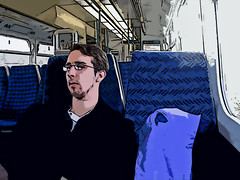 Kertea! (GatheringZero) Tags: blue train photoshop altered grim geoff photoshopped hungover unhappy transformed notwelshman geoffsbirthdaybonanza