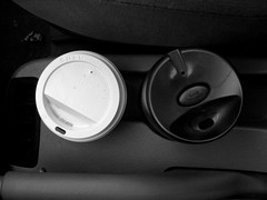 staying alive (postpacific) Tags: blackandwhite bw coffee car rental cups cupholders underskogno