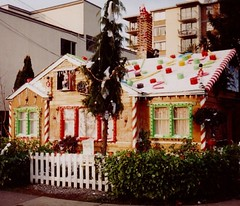 Candy Cane House - Vancouver 1980 (Mikey G Ottawa) Tags: santa christmas xmas roof chimney urban house streetart cake cane vancouver cool cookie baker bc candy sweet outdoor britishcolumbia decoration broadway gingerbread streetphotography streetscene delicious bakery kitsilano mm gingerbreadhouse candycane decorate frosting hansel frosted yuletide gretel west4th hanselandgretel mikeyg mikeygottawa candycanehouse