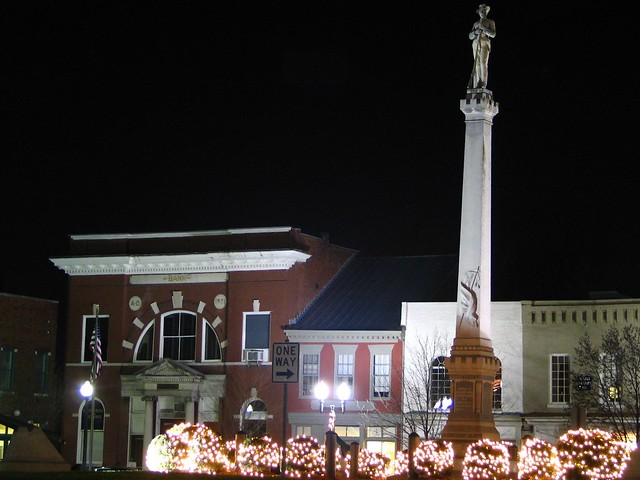 Franklin, TN's town square and Confederate Monument at night